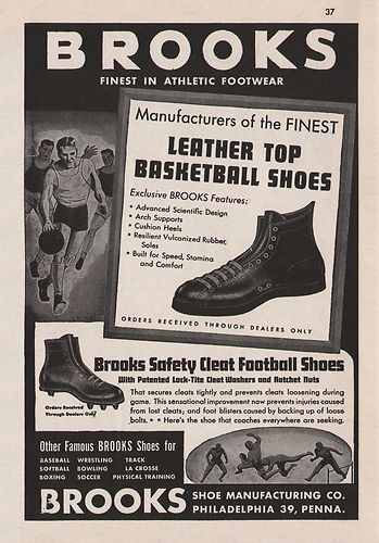 6ffebda85210 8 Vintage 1940s-60s BROOKS SPORTS CLEATS SHOES Print Ads - Hanover ...