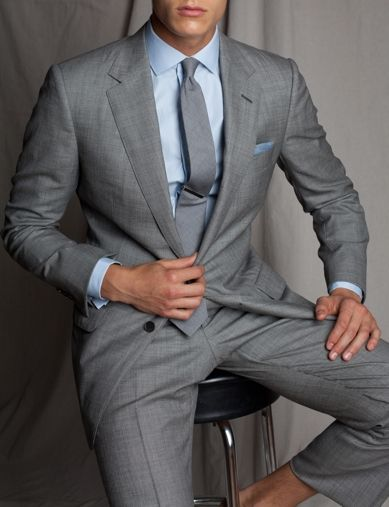 ca06e3bd04b Classic look - grey wool+cashmere slim fit suit goes extremely well with  this beautiful