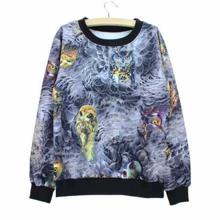 womens owl sweatshirt feathers for autumn or winter