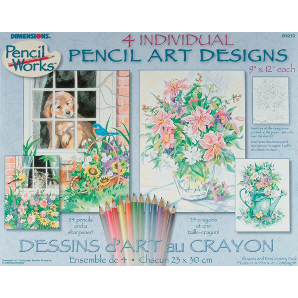 Dimensions Pencil By Number Kit-Set of 4: Cat Dog Floral | Products ...