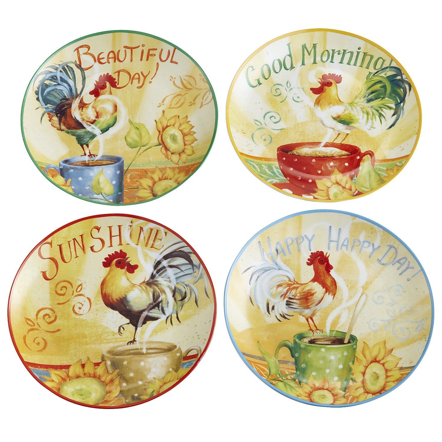 Good Morning Plates Set Great For My Hen Rooster Kitchen