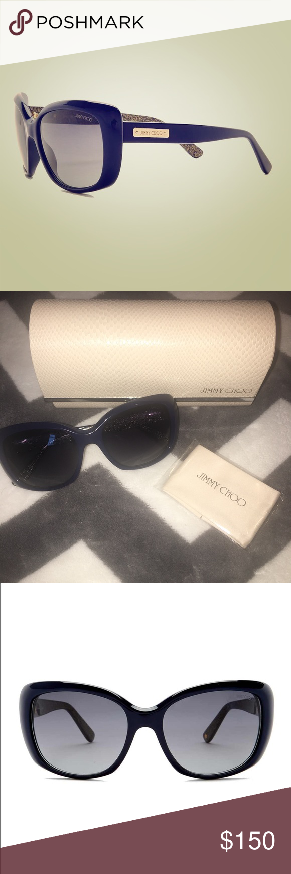 ede44dd2ba1 Jimmy Choo Kalia oversized sunglasses blue glitter Brand new with original  case and dust cloth. 100% authentic Jimmy Choo Accessories Sunglasses