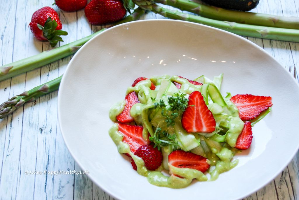 Looking for a different way to serve asparagus? This Raw Asparagus Salad With Avocado Dressing is very simple and you do not even have to cook.