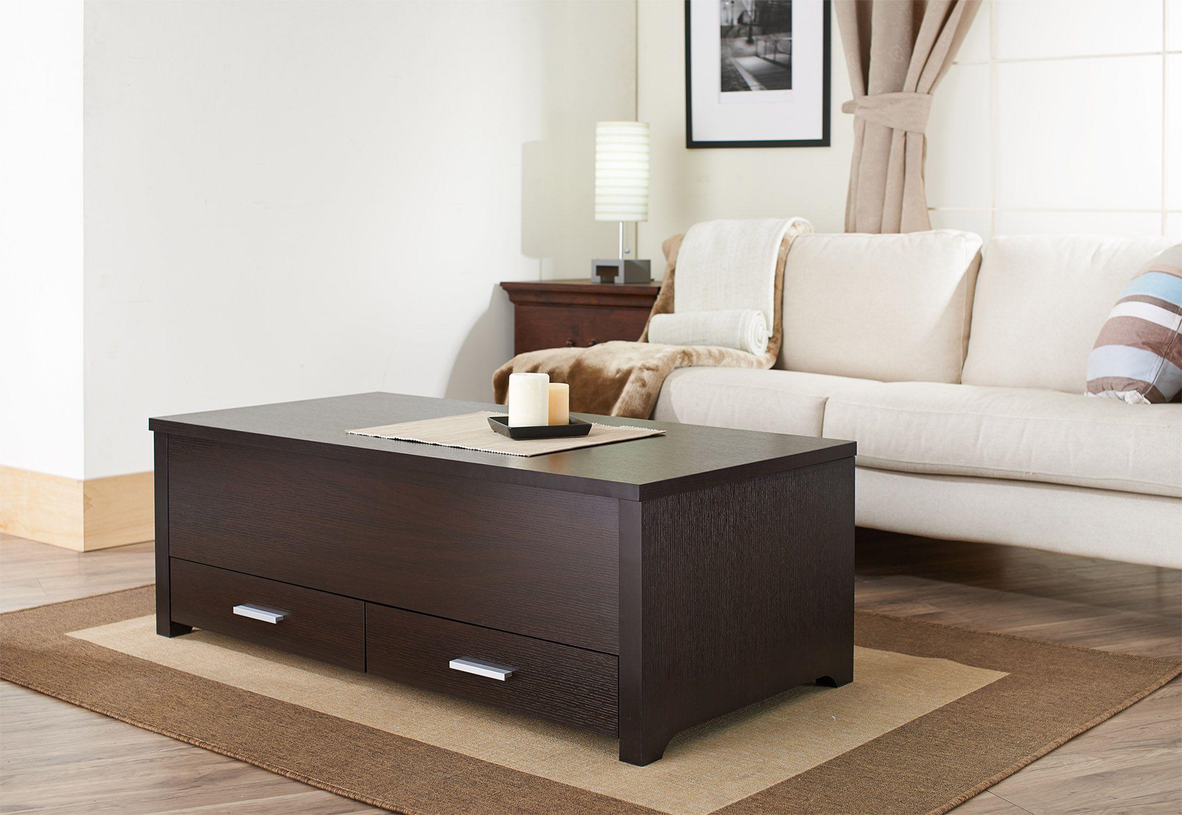 Furniture of America Garla Espresso Inner Storage 2-Drawer Coffee Table, Brown