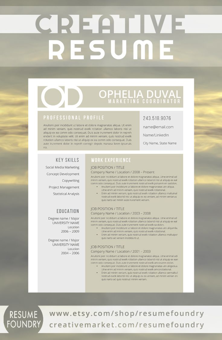Creative Resume For Those That Are Looking For A Unique Design To