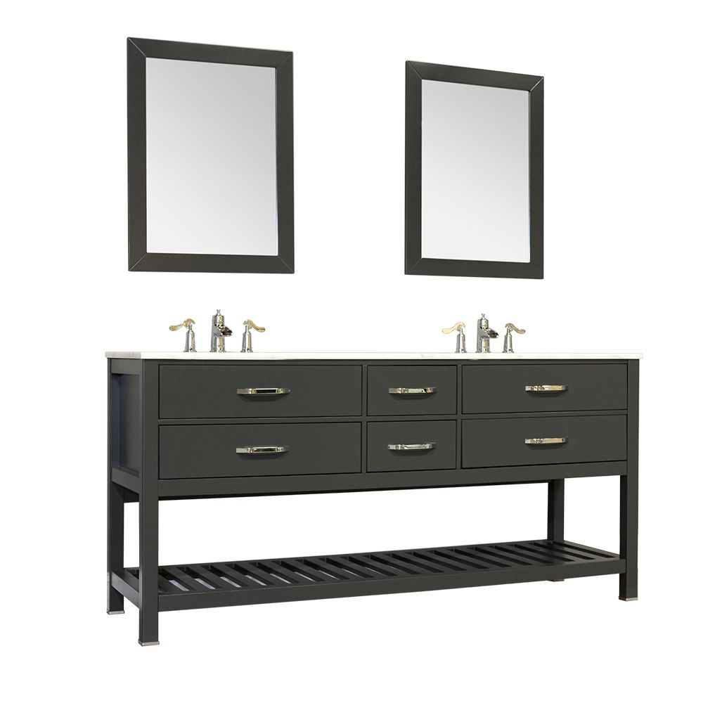 Alya Bath Manhattan Collection Double Contemporary Bathroom Vanity Without Top