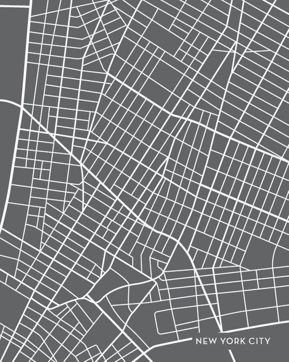 New York City Map Art Print / Downtown NYC Poster Art Print