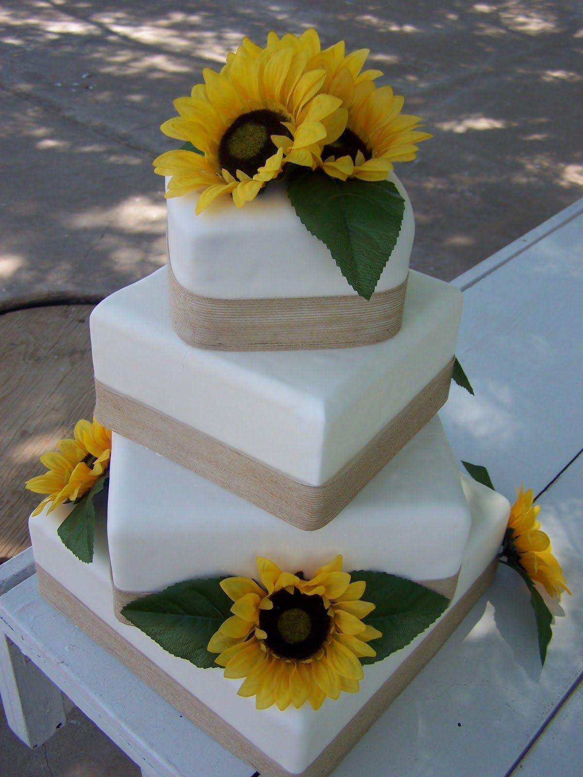 CakeALicious Sunflower & Burlap Wedding Cake Burlap