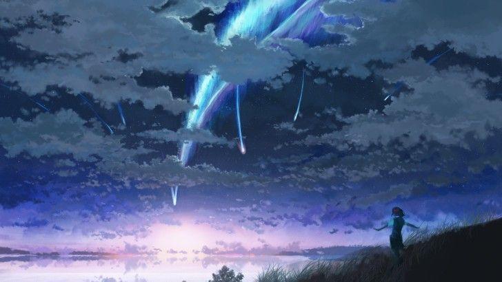 Night Clouds Sky Comet Your Name Anime Scenery Wallpaper Pemandangan Anime Pemandangan Gambar Anime
