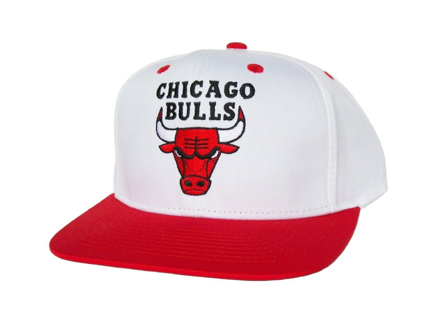 new arrive 68ed3 57469 CHICAGO BULLS Retro Old School Snapback Hat - NBA Cap - 2 Tone White Red