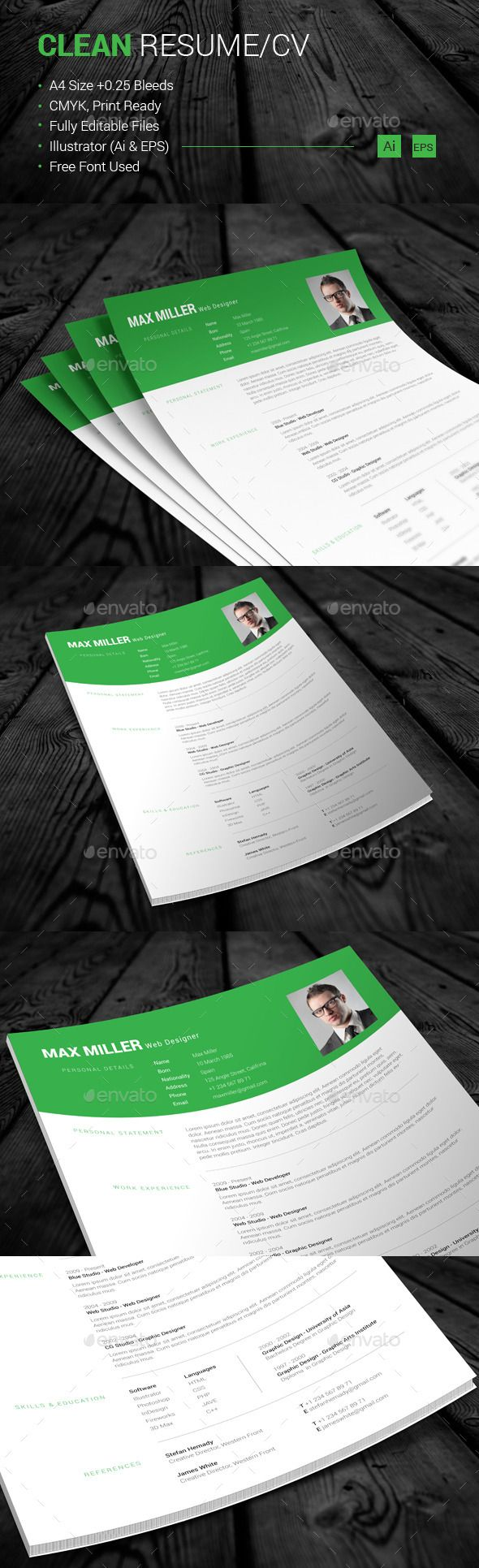 Clean ResumeCV Template Download httpgraphicrivernet Clean