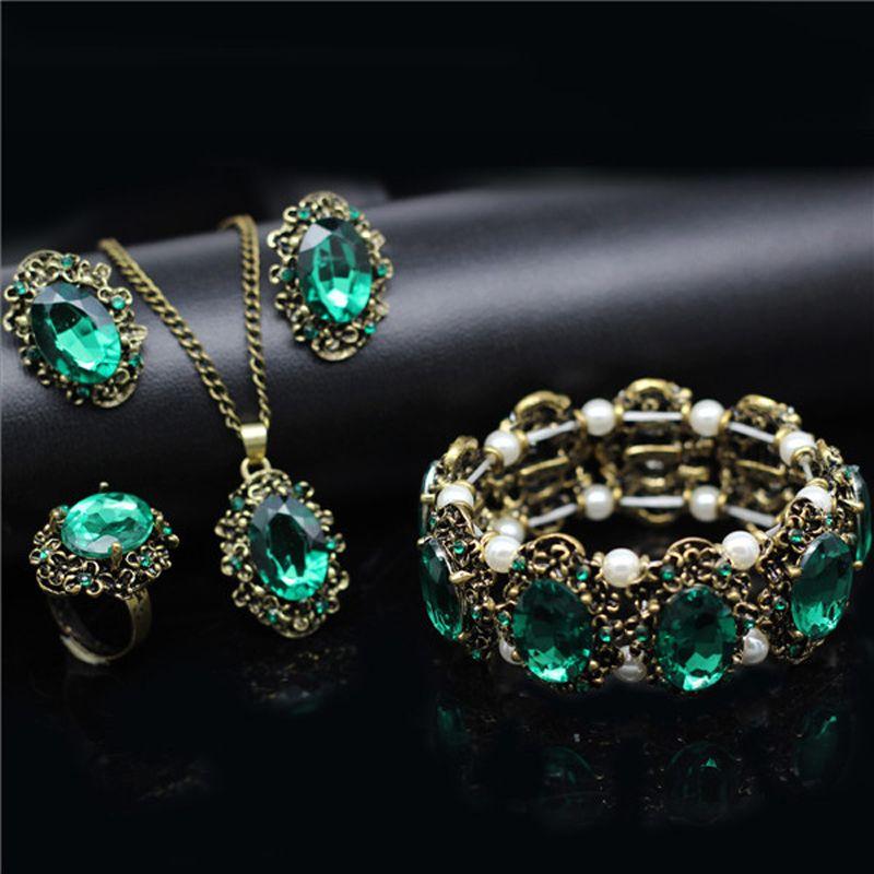 Mode bruids Sieraden sets vintage Crystal brons plated sieraden kate prinses Ketting Oorbellen armband ringen 1105