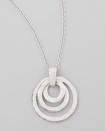 NM Diamond 18k White Gold Diamond Solitaire Pendant Necklace with Pave Halo - Neiman Marcus