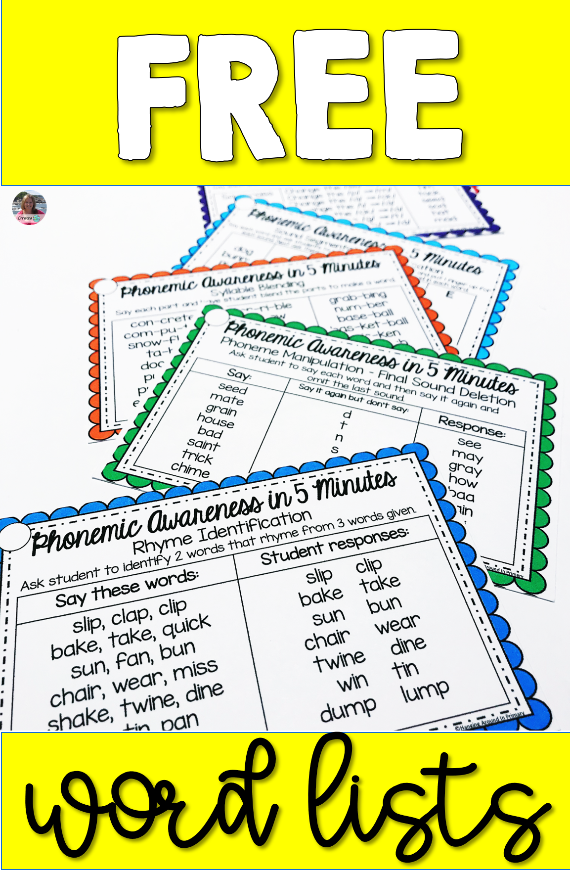 Free Word Lists For Phonemic Awareness In