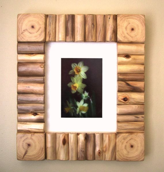 Rustic Wood Frame Rustic Photo Frame Rustic Picture Frame Log Decor 8 X 10 Frame Outside Approx 13 5 8 X 15 5 8 In Custom Frames With Images Rustic