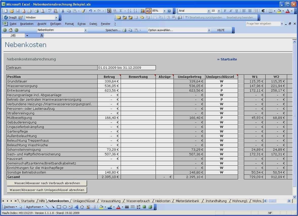 Nebenkostenabrechnung Vorlage Excel Hier Herunterladen 7