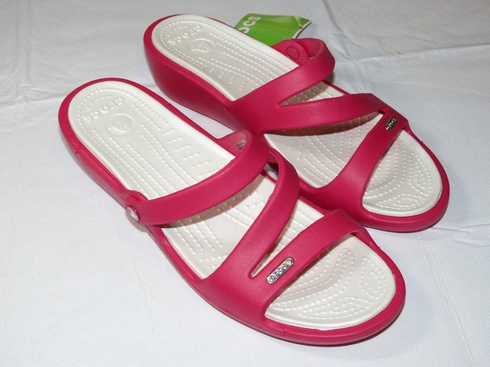 edd2202d8e18fe Crocs Patricia Raspberry Oyster relaxed fit Womens W11 W 11 Slide sandals  10386  Crocs  Sandalsslide