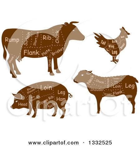Farm animals cow pig and chicken Royalty Free Vector Image