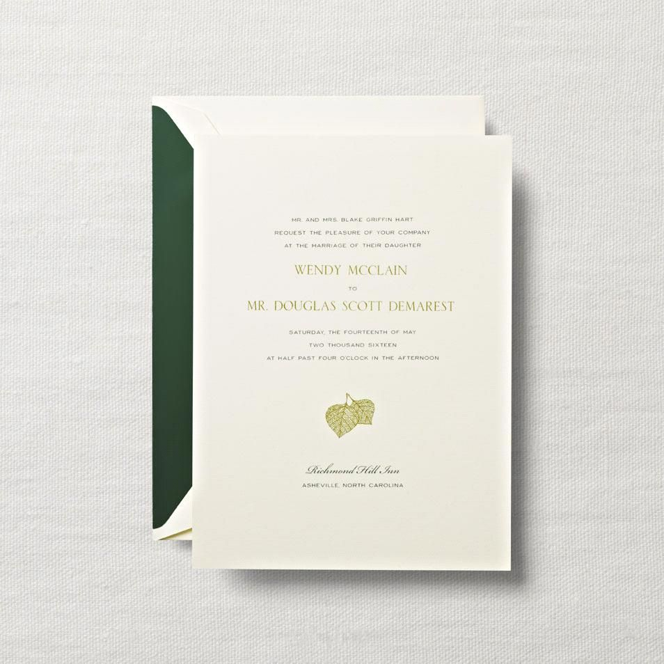 Ecruwhite Embassy Wedding Invitation with Leaf Motif: The noble ...