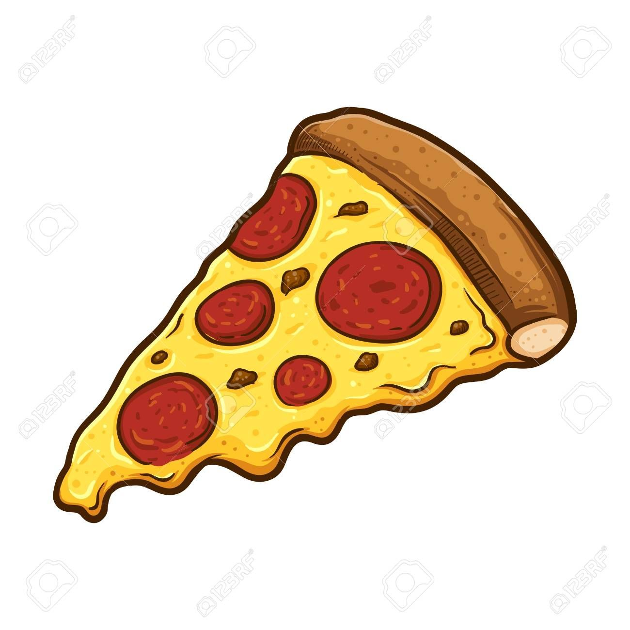 Vector illustration of delicious slice of pepperoni pizza with melted cheese, hand drawn. Vector il