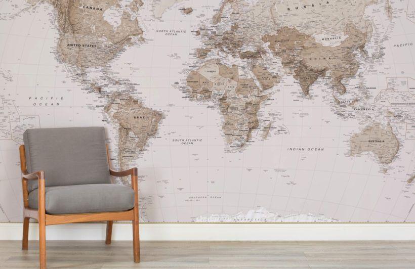 Earth Tone World Map Mural Wallpaper World Map Mural