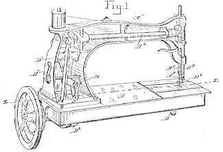 An original patent drawing for a WHeeler and Wilson Sewing