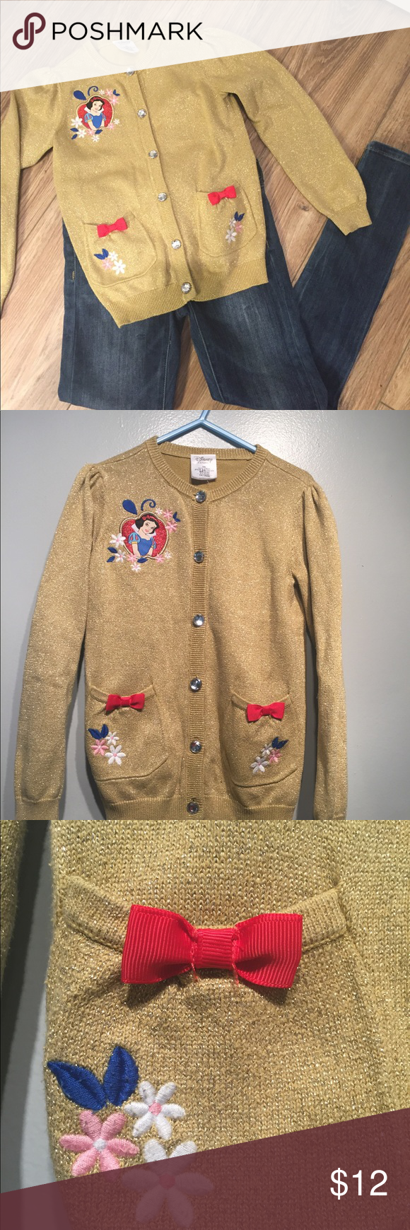 HP👗Snow White Disney gold cardigan 5/6 pink red | Gold cardigan ...
