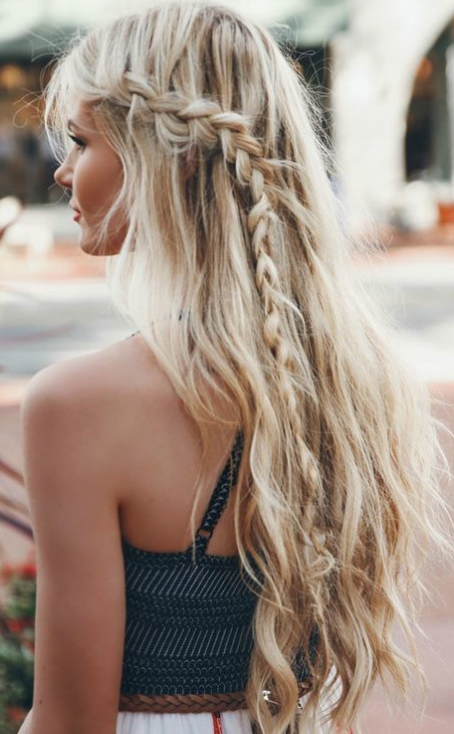 beach waves & braid glam peinados