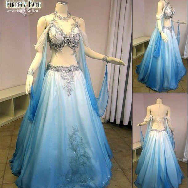 Firefly path belly wedding dress belly dancer dress blue for Best wedding dresses for dancing