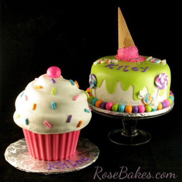 Ice Cream & Candy Cake + Giant Cupcake Cake | Giant cupcake cakes ...