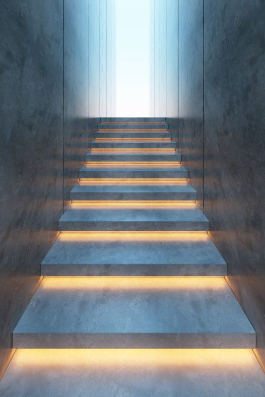 led step light on concrete stair pinteres