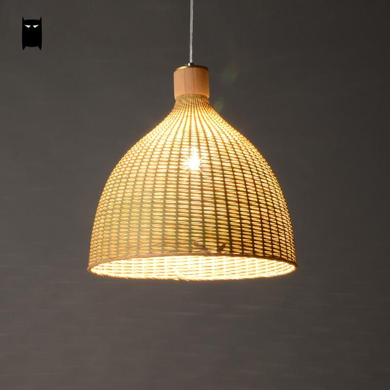 Hand Woven Bamboo Rattan Round Basket Lampshade Pendant Light Fixture Rustic Asian Country Japanese Style