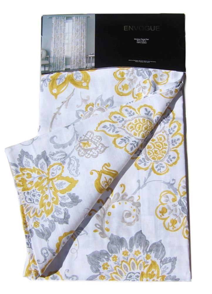 Envogue Yellow Gray Jacobean Floral Window Curtain Panels 50 By 96