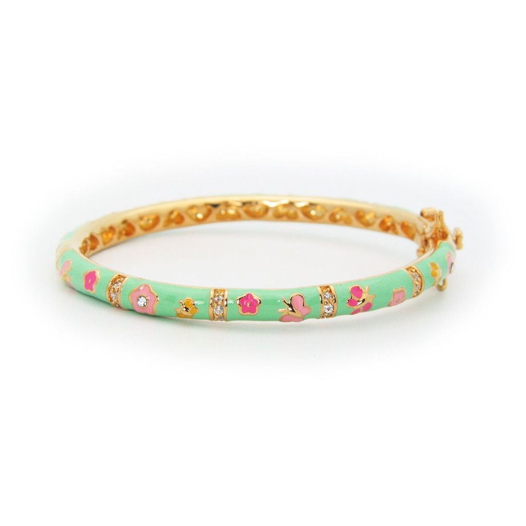 Fashion jewelry for girls gorgeous enamel bangle bracelet kt gold