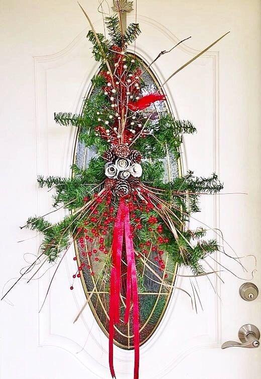 Rustic Christmas Door Decor Swag By AdysArts