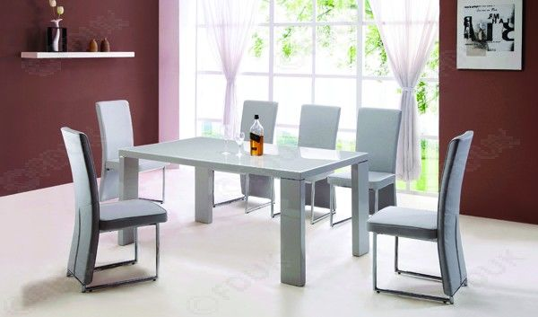 Enzo Grey Dining Set With 4 Chairs Grey Dining Tables Gray