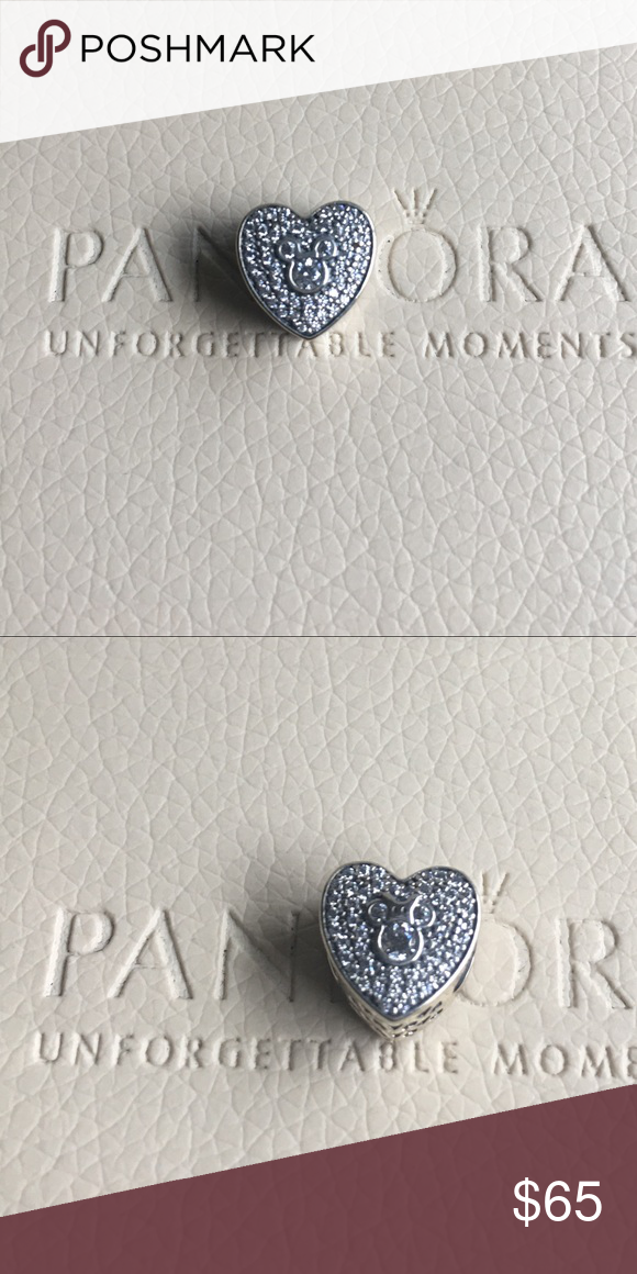 9adf47ff1 Authentic Pandora Disney Mickey and Minnie Heart New Authentic Pandora  Disney Mickey & Minnie Sparkling Heart Charm. Comes with Pandora pouch.