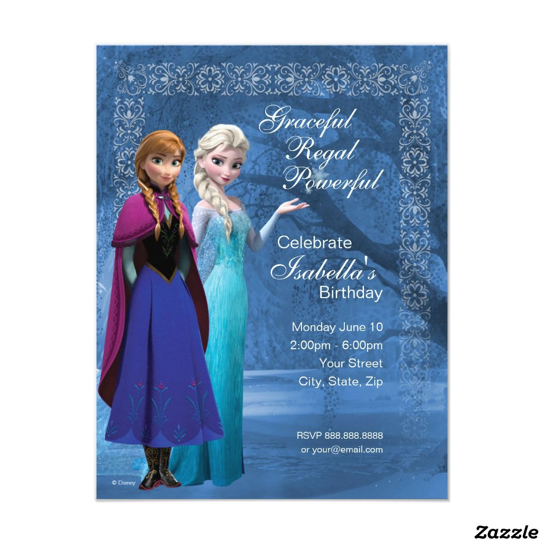 Frozen Anna and Elsa Snowflake Birthday Invitation Birthdays