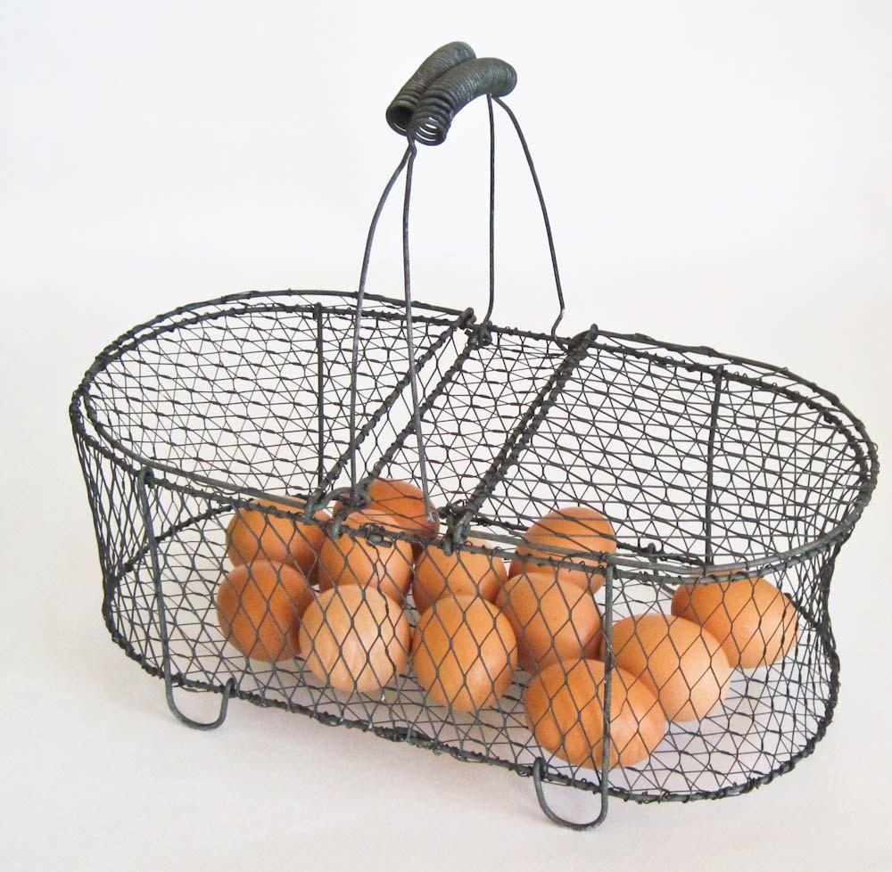 Chicken Wire Egg Basket Two Sided Basket   Farmhouse Kitchen ...