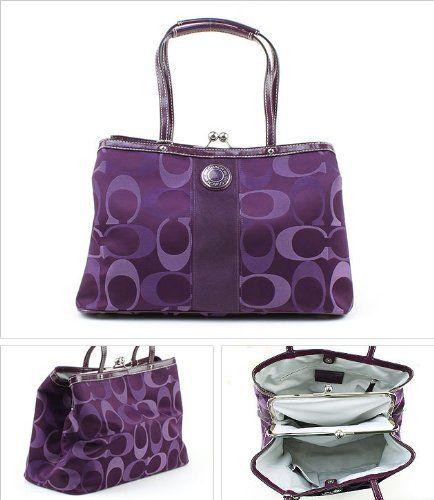 Coach Signature Stripe 3 Color Signature Carryall Purse Purple 20105 -  Retails $368