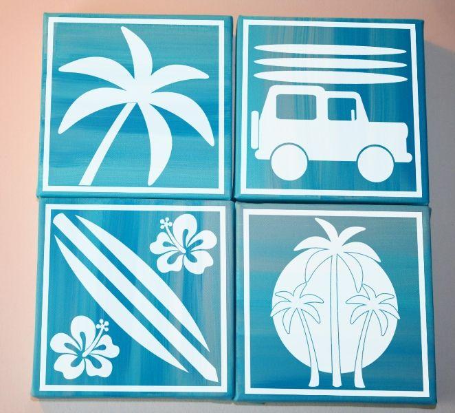 Quot Beach Blocks Quot Vinyl Lettering Wall Decal Canvas Art Surf