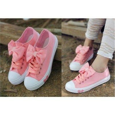 f4cb8b5acbd Buy Fashion Clothing - Big Bow Flat Canvas Sneakers Womens Shoes ...