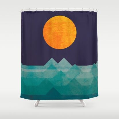 The Ocean The Sea The Wave Night Scene Shower Curtain