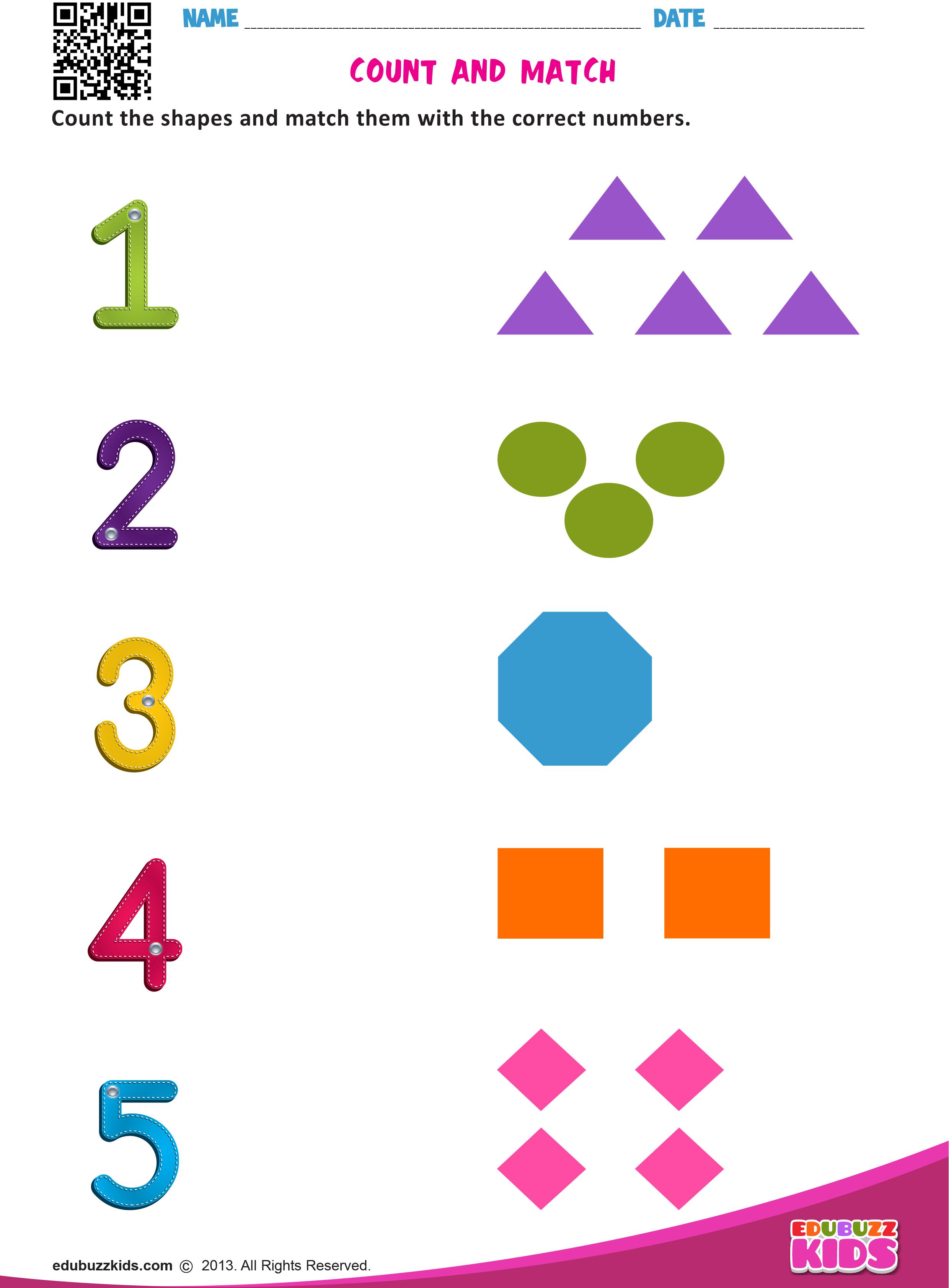 Preschool Amp Kindergarten Math Match Numbers Worksheets