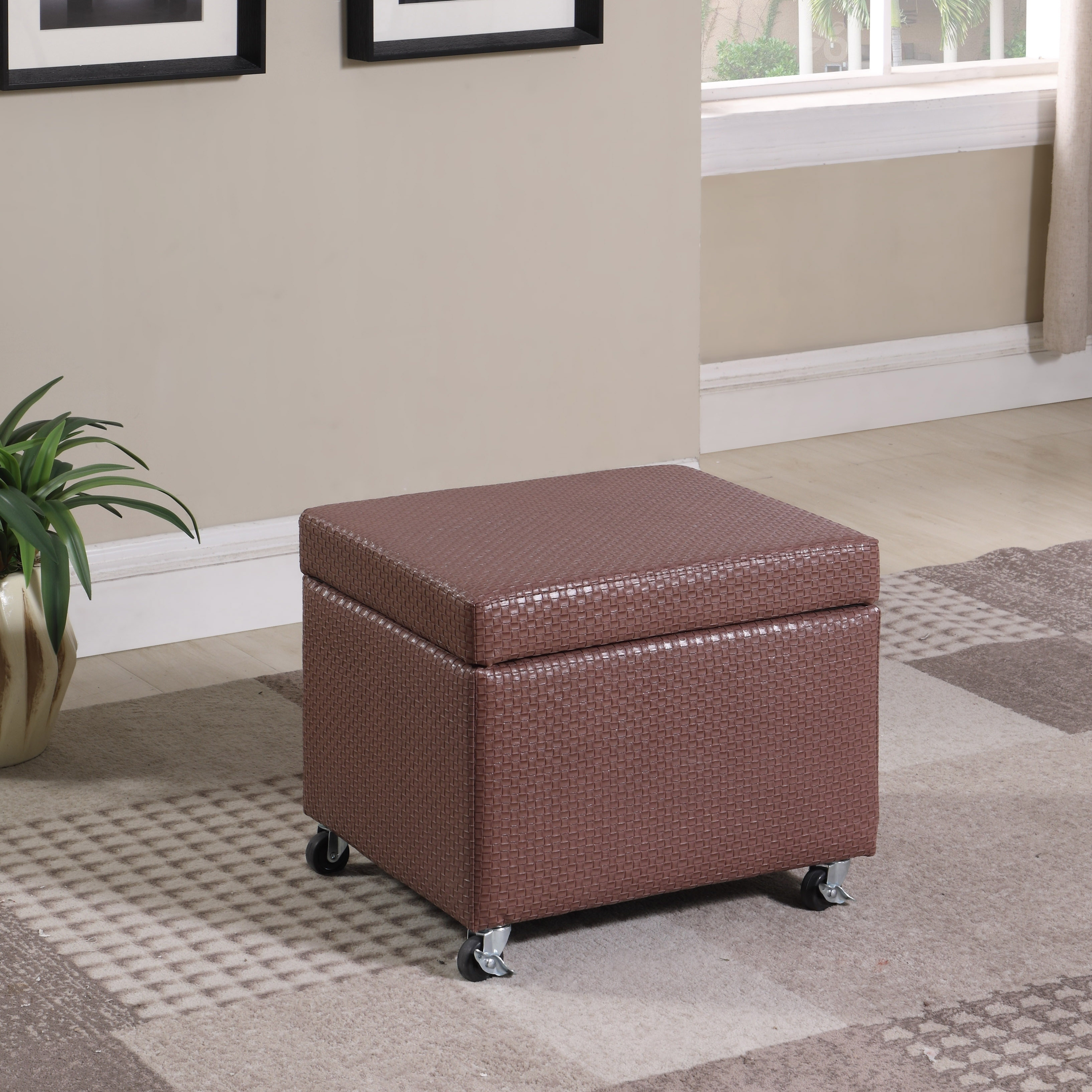 17 In Faxu Leather Storage Ottoman Seat With Wheels Brown