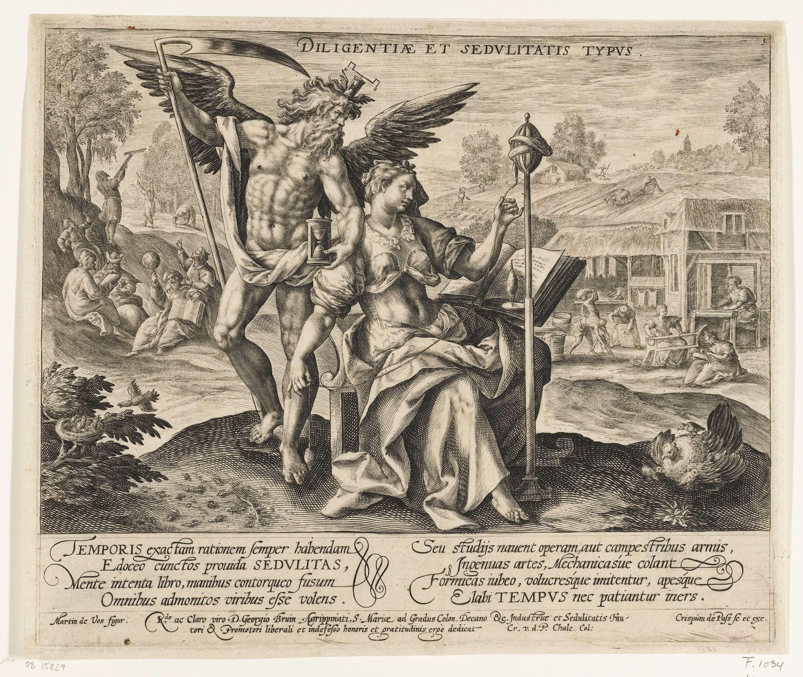 Crispijn van de Passe (I) | Landschap met Vader Tijd en personificatie van Vlijt en Arbeidzaamheid, Crispijn van de Passe (I), 1589 - 1611 | Landschap met Vader Tijd, als naakte gevleugelde man met zeis en zandloper, en de vrouwelijke personificatie van Vlijt (Diligentia) en Arbeidzaamheid (Sedulitas), met spinrokken. Op de voorgrond een vogel die haar jongen voedt, mieren en een kip met haar kuikens, die symbool staan voor zorgzaamheid en vlijtig werken. Links op de achtergrond het…
