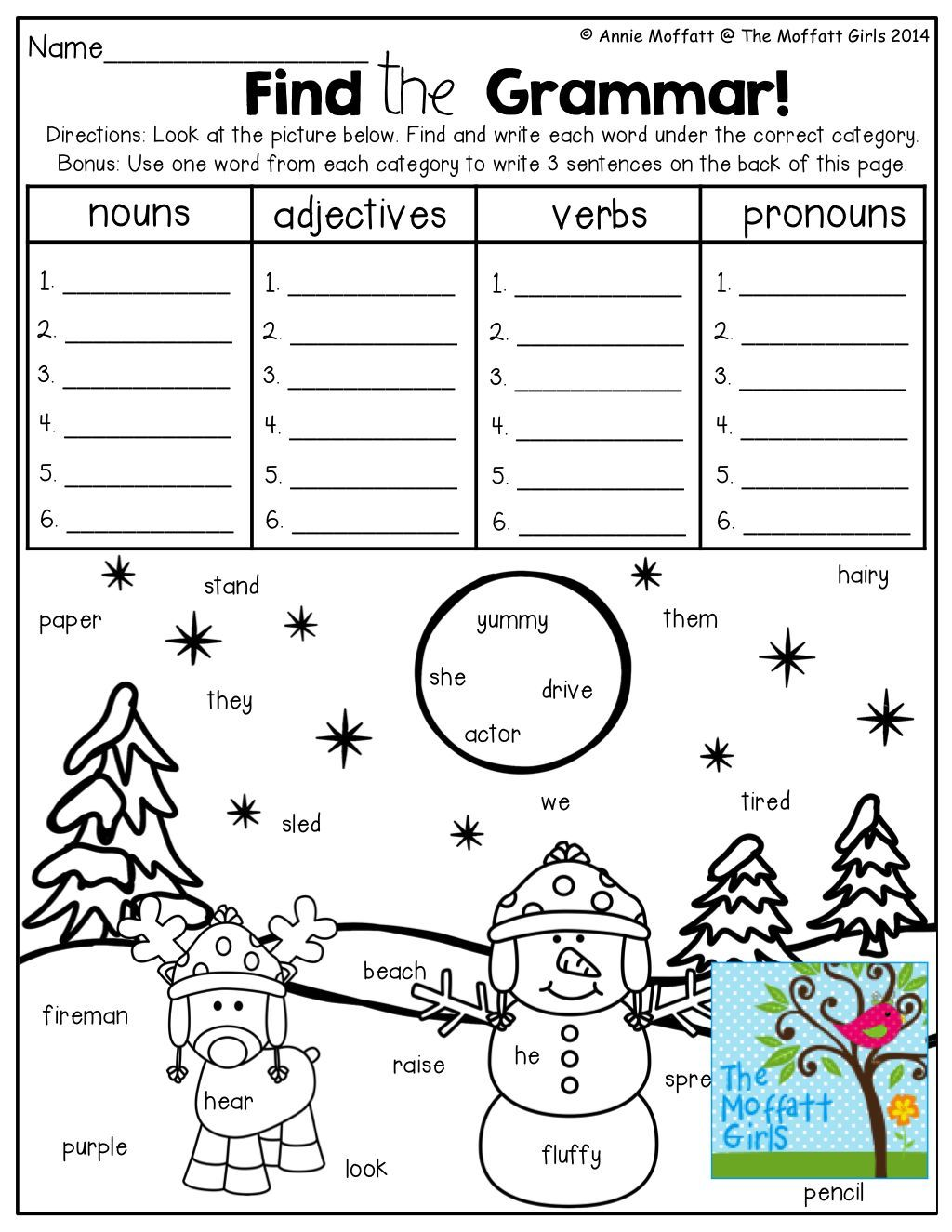 Search, find and write, nouns, adjectives, verbs and pronouns! TONS of fun  and effective printables!