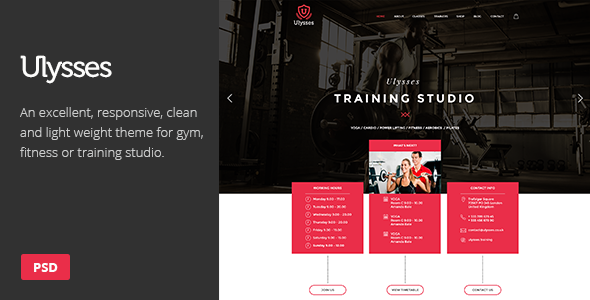 ulysses gym fitness psd theme gym fitness psd templates and