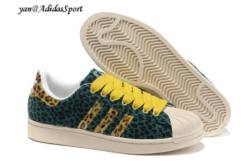 Adidas Superstar II Womens Leopard Sneakers Dark Green/Yellow/Beige