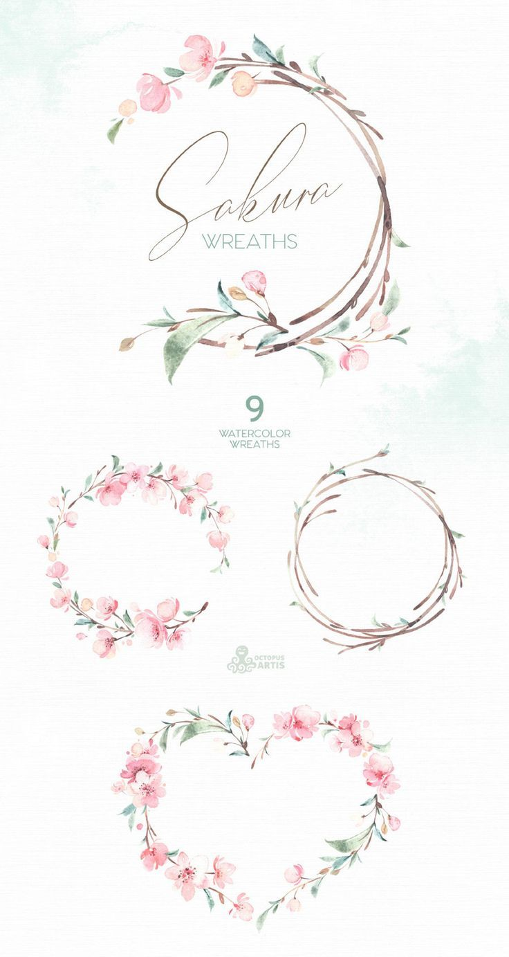 Photo of Sakura Wreaths. Watercolor Floral clipart, cherry blossom, fresh, pink, flowers,…